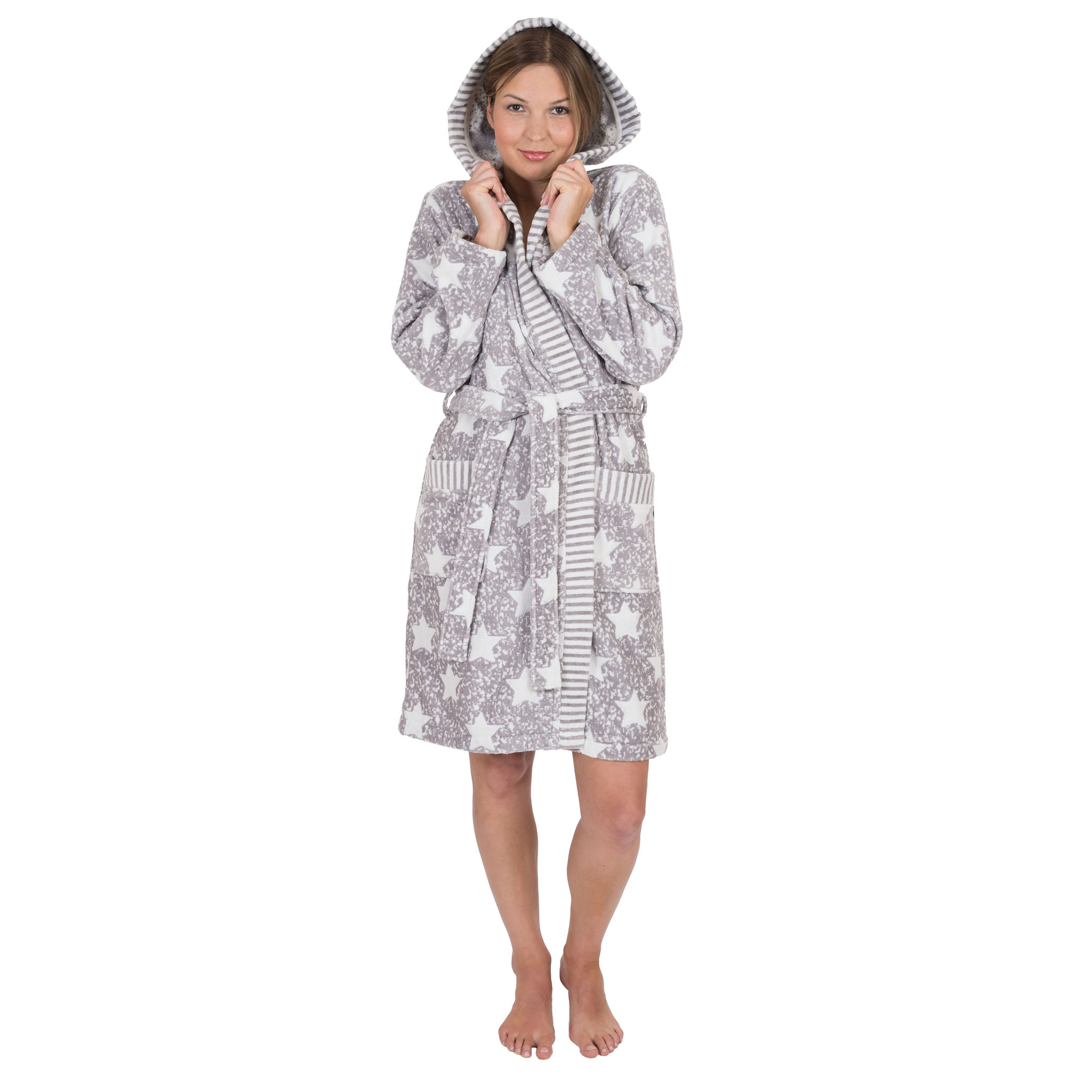 WeWo fashion Damen Bademantel 6228-grau/natur XL