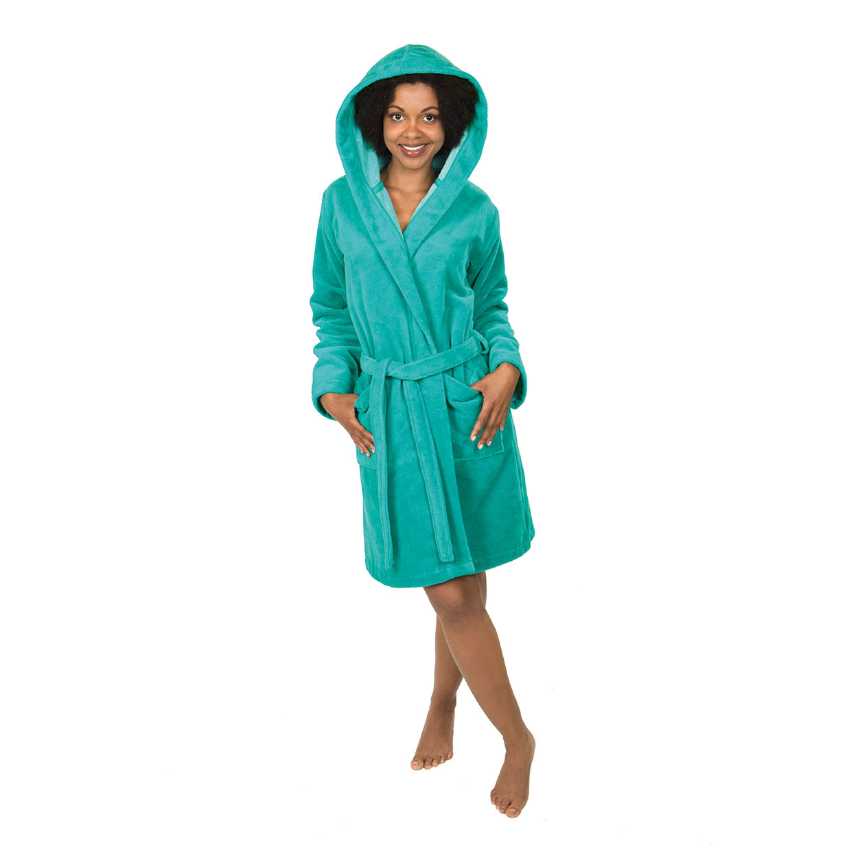 WeWo fashion Damen Bademantel D.Badej.Micro/BW 6110-ozeanblau S